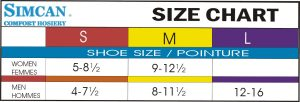Simcan Sock Size chart