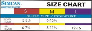 Simcan Sock Size chart